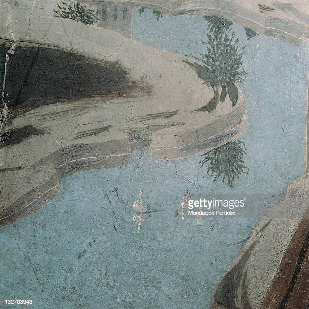 Italy, Tuscany, Arezzo, San Francesco church, Main Chapel. Detail. Tiberine landscape in the middle the bends of the river, bushes, gooses, wisps of...