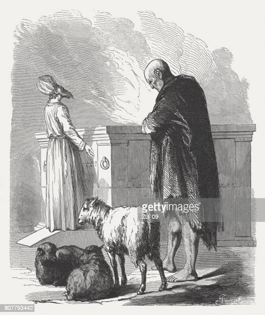 the leper at the altar (leveticus 14, 10), published 1886 - leprosy stock illustrations