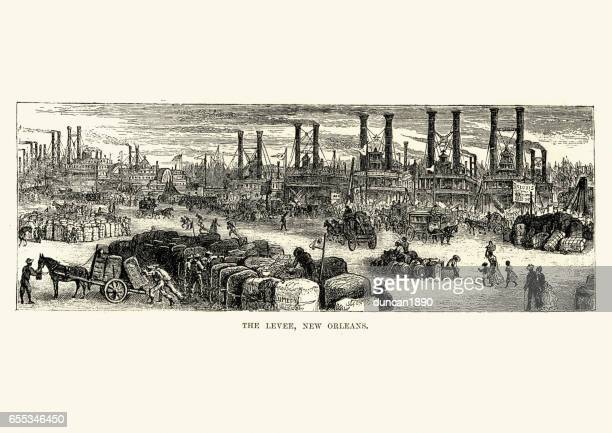 the levee, new orleans, 19th century - new orleans stock illustrations, clip art, cartoons, & icons
