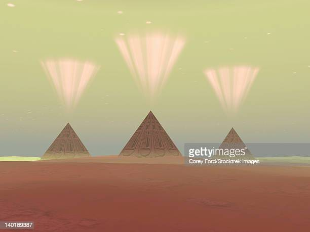 the lights from ancient pyramids join with the stars overhead. - nubia stock illustrations, clip art, cartoons, & icons