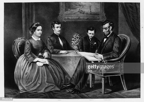 The Lincoln family President Abraham Lincoln his sons Thomas and Robert and his wife Mary Original Artwork Printed by Currier Ives