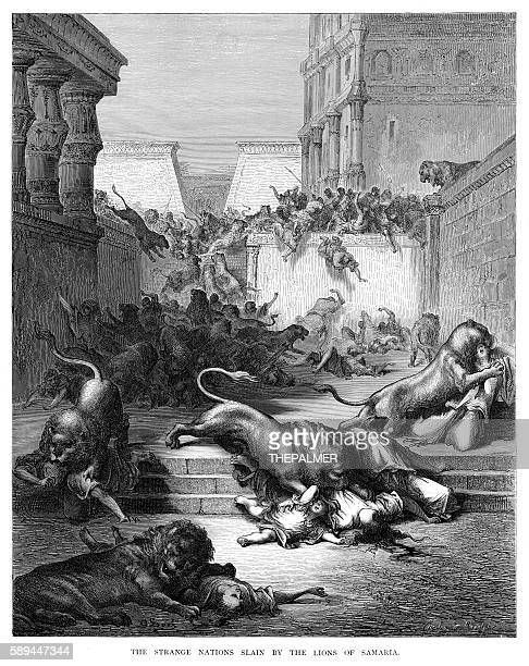 The lions attacking in Samaria engraving 1870