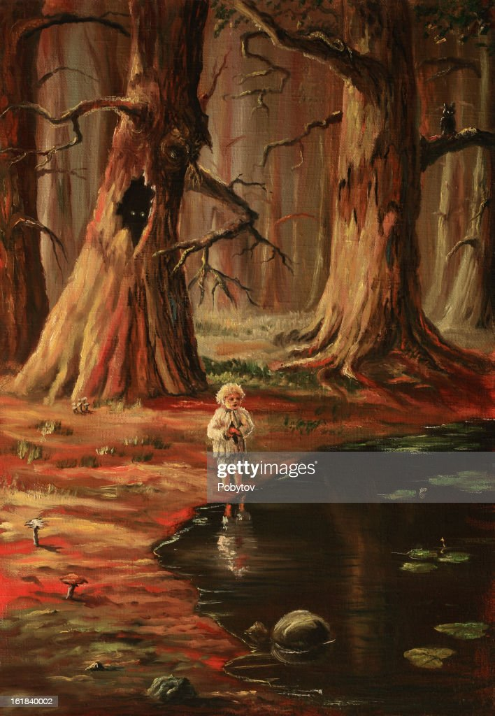 The lonely kid in a wood : stock illustration