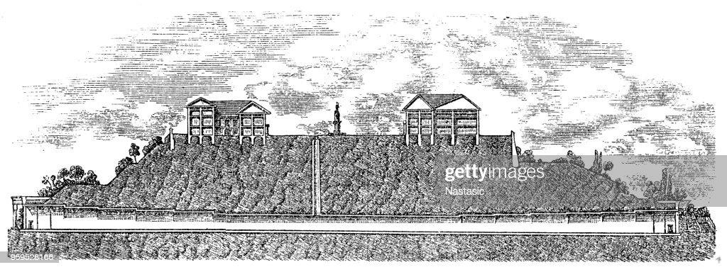 Der Längsschnitt des Tunnels Buda im Jahre 1857 : Stock-Illustration