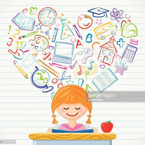 ilustrações, clipart, desenhos animados e ícones de o amor de aprendizagem - grupo grande de objetos
