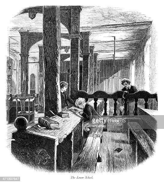 der unteren school in eton college (viktorianischen illustration - staatliche schule stock-grafiken, -clipart, -cartoons und -symbole
