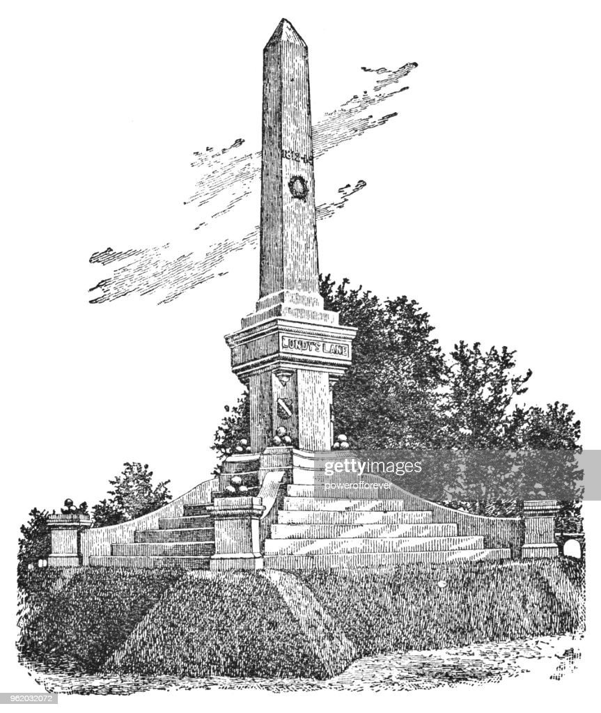 The Lundy's Lane Monument in Niagara Falls, Ontario, Canada - 19th Century : Stock Illustration