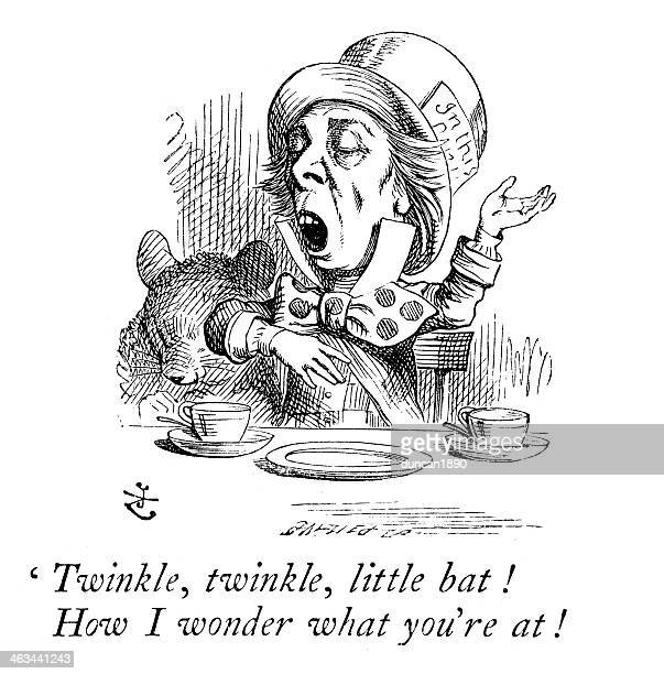 der mad hatter - john tenniel stock-grafiken, -clipart, -cartoons und -symbole