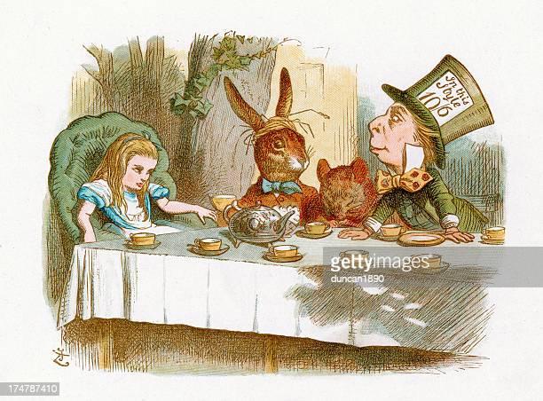 der mad hatter's tea party - john tenniel stock-grafiken, -clipart, -cartoons und -symbole