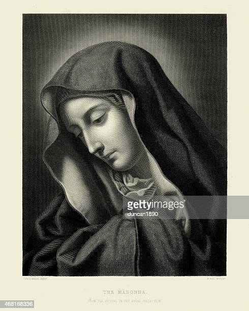 the madonna by carlo dolci - virgin mary stock illustrations