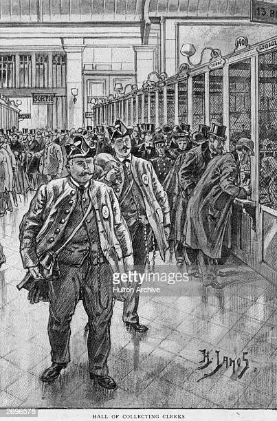 The main hall of collecting clerks in the Bank of France, Paris. Original Artwork: From a drawing by H Lanos