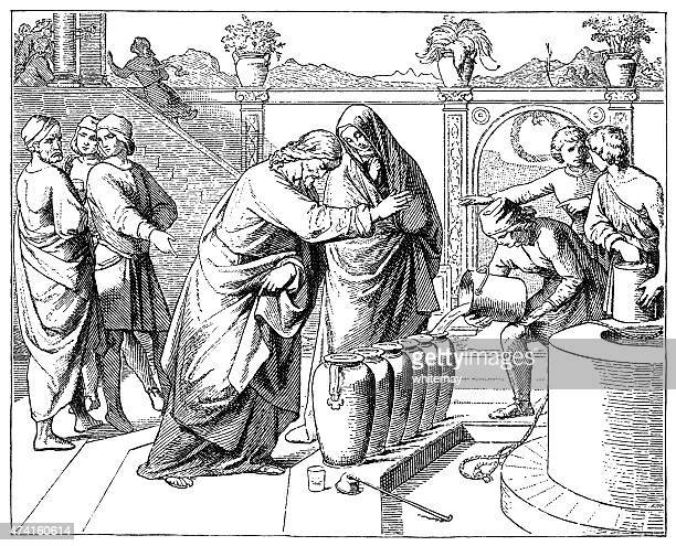 the marriage at cana of galilee (victorian engraving) - historical palestine stock illustrations