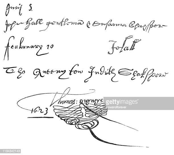 ilustraciones, imágenes clip art, dibujos animados e iconos de stock de los registros de matrimonio de las hijas de shakespeare - firma