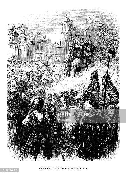 the martyrdom of william tyndale - anglican stock illustrations