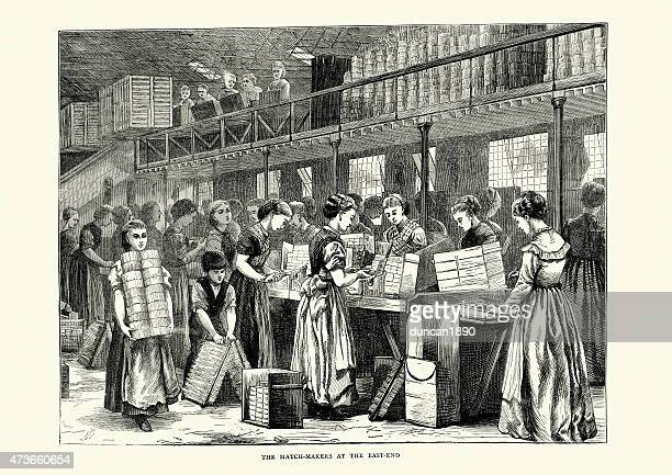 the match makers at the east end, london, 1871 - industrial revolution stock illustrations