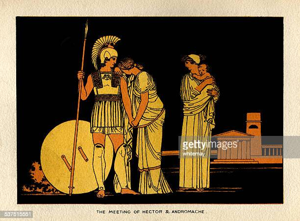 the meeting of hector and andromache - ancient greece stock illustrations