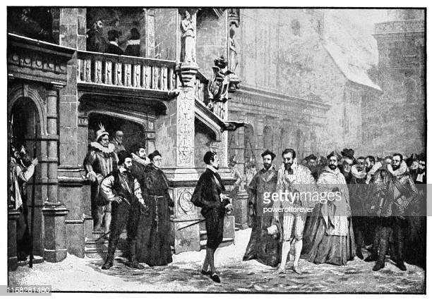 bildbanksillustrationer, clip art samt tecknat material och ikoner med mötet mellan henrik iii och hertigen av guise av pierre-charles comte-19th century - duke