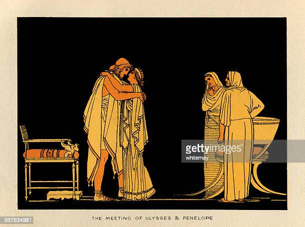 the meeting of ulysses and penelope - classical greek style stock illustrations