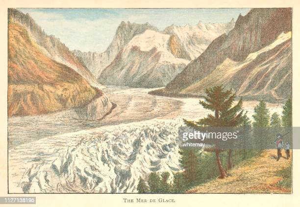 the mer de glace glacier on mont blanc, france - mont blanc stock illustrations, clip art, cartoons, & icons