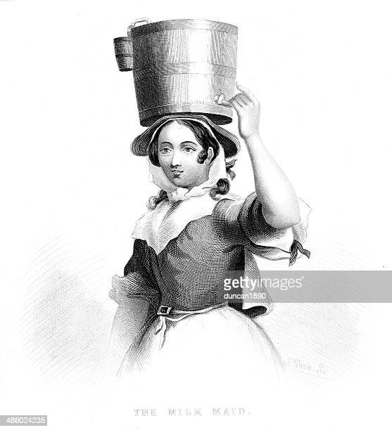 the milk maid - milking stock illustrations, clip art, cartoons, & icons