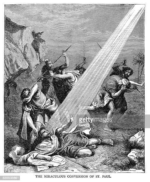 the miraculous conversion of saint paul - religious saint stock illustrations