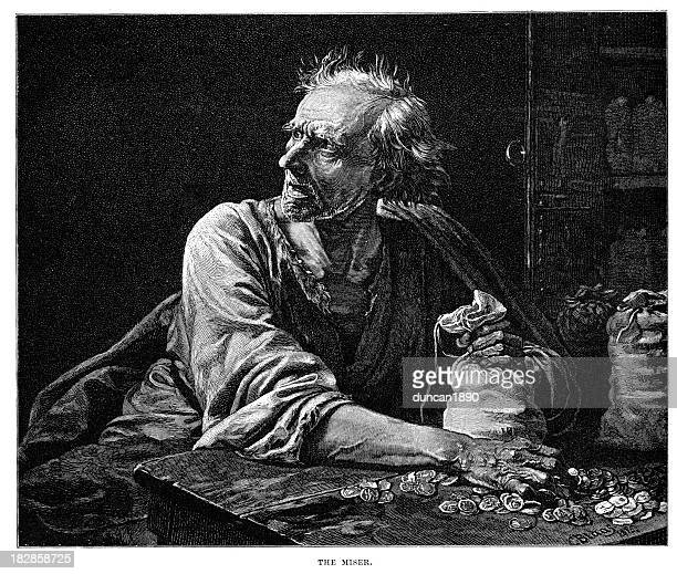 the miser - 19th century style stock illustrations