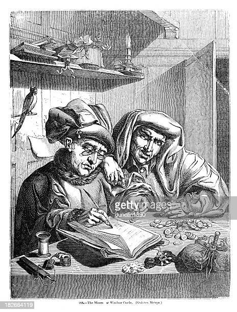 the misers - counting stock illustrations