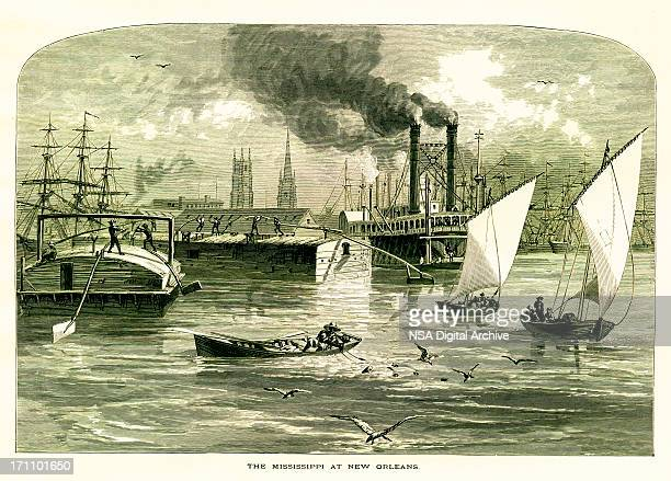 The Mississippi River at New Orleans, USA | Historic Illustrations