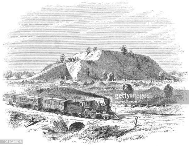 the monks mound at cahokia mounds state historic site near collinsville, illinois, usa - illinois stock illustrations