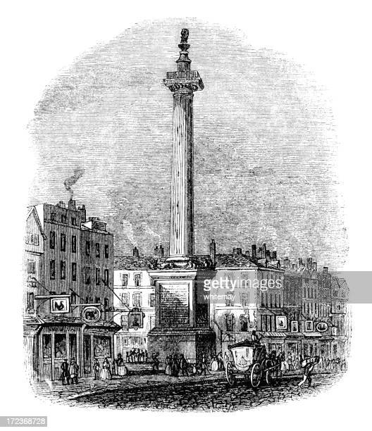 The Monument, City of London (Victorian woodcut)