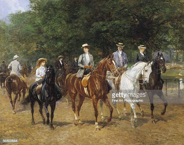 The morning ride, Rotten Row, Hyde Park, London. Artist b. 1842 d. 1933