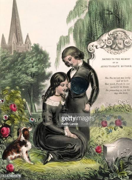 the mother's grave - dead girl stock illustrations
