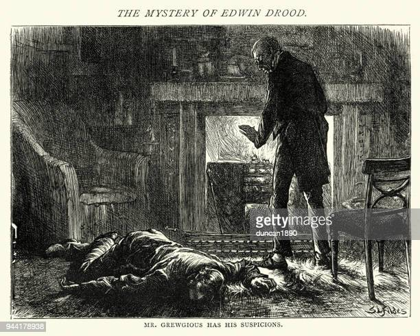 the mystery of edwin drood, mr grewgious has his suspicions - murder victim stock illustrations