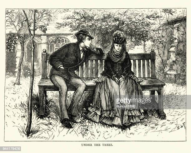 the mystery of edwin drood, under the trees - flirting stock illustrations, clip art, cartoons, & icons