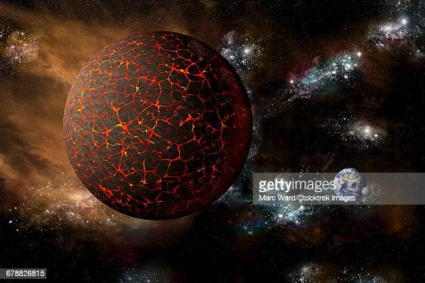 the mythical planet known as nibiru as it hurtles toward earth. - space and astronomy stock illustrations
