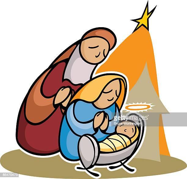 the nativity scene - baby blanket stock illustrations, clip art, cartoons, & icons