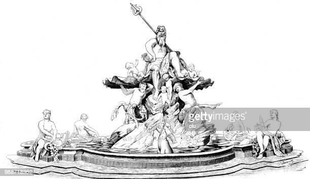 the neptune fountain in berlin - roman god stock illustrations