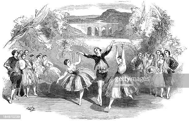 The New Ballet - Vauxhall Gardens, London (engraved illustration)