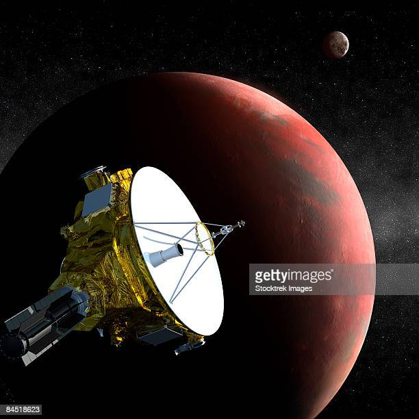 the new horizons spacecraft as it approaches pluto. - pluto dwarf planet stock illustrations