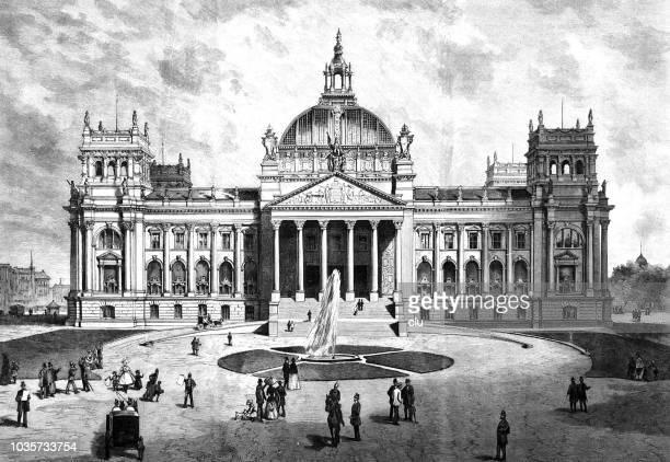 ベルリンの国会議事堂に新しい議会の建物 - ライヒスターク点のイラスト素材/クリップアート素材/マンガ素材/アイコン素材