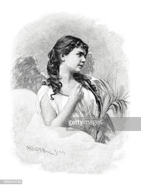 ilustrações, clipart, desenhos animados e ícones de a saudação de ano novo de um anjo da paz com longos cabelos encaracolados - cartoon characters with curly hair