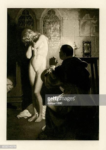 the novellino of masuccio - madonna barbara - voyeurism stock illustrations, clip art, cartoons, & icons