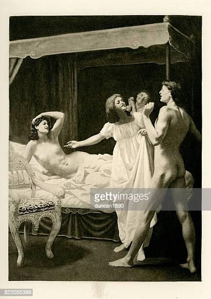 ilustraciones, imágenes clip art, dibujos animados e iconos de stock de el novellino de masuccio-melena venit consilium - prostituta