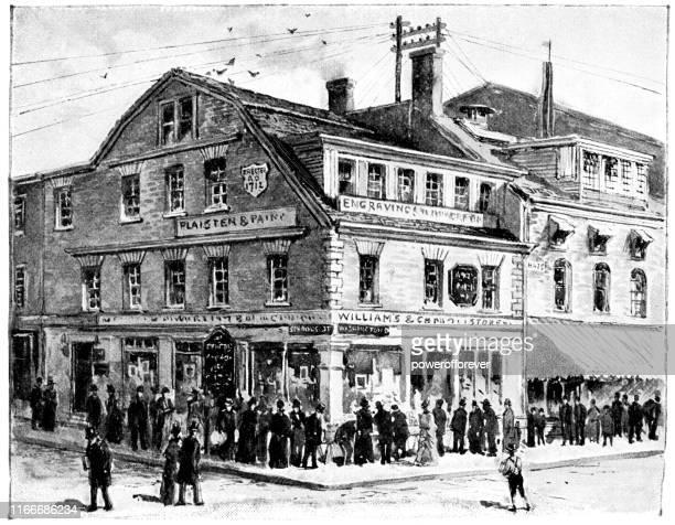 ボストンのオールドコーナー書店、マサチューセッツ州、アメリカ合衆国 - 19世紀 - 書店点のイラスト素材/クリップアート素材/マンガ素材/アイコン素材