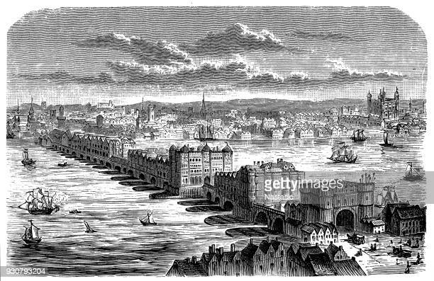 the old london bridge at the time of charles ii - architectural feature stock illustrations, clip art, cartoons, & icons
