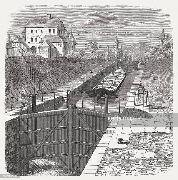 the opening of the sluice, wood engraving, published in 1880 - sluice stock illustrations