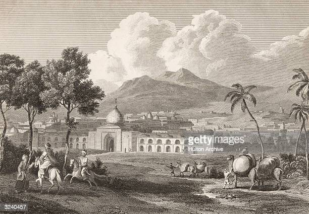 The outskirts of Isfahan , the capital of ancient Persia. Leading into the city is the Gate of Shah Abbas. Original Artwork: Engraving by Goodall...