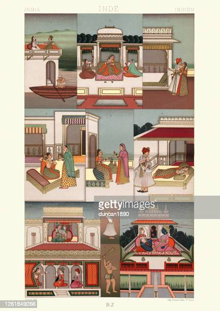 the palace of delights, mughal empire india, indian - mughal empire stock illustrations