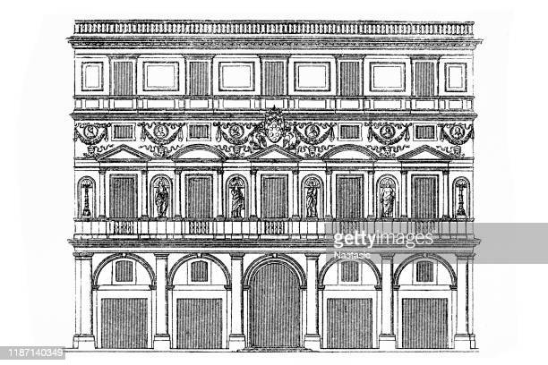 the palazzo branconio dell'aquila is a lost palace in the rione borgo of rome (west of castel sant'angelo), designed by raphael for giovanbattista branconio dell'aquila, a papal advisor and goldsmith - castel sant'angelo stock illustrations