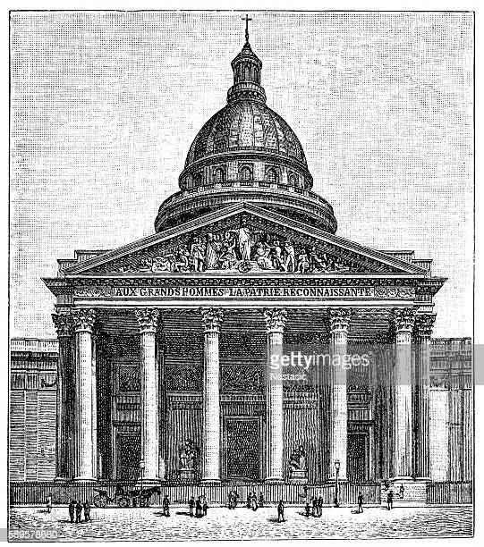 the pantheon in paris - spire stock illustrations, clip art, cartoons, & icons